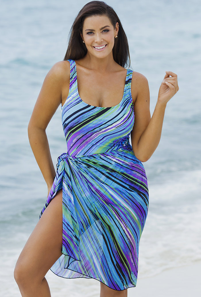 e047308a597 Beach Belle Mystic Stripe One Piece with Matching Sarong