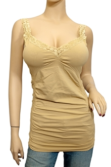 d1508ede38c Jr Plus Size Lace Trim Long Cami Top Top Beige