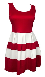 Plus size Color Block Flare Mini Dress Red White