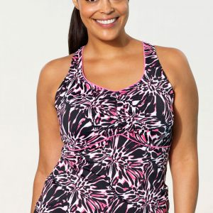f3e73deeaf239 Aquabelle Crackle Racerback Tankini Top