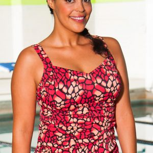 c8e239fc2b7 Aquabelle Mojave Plus Size Side Shirred Tankini Top