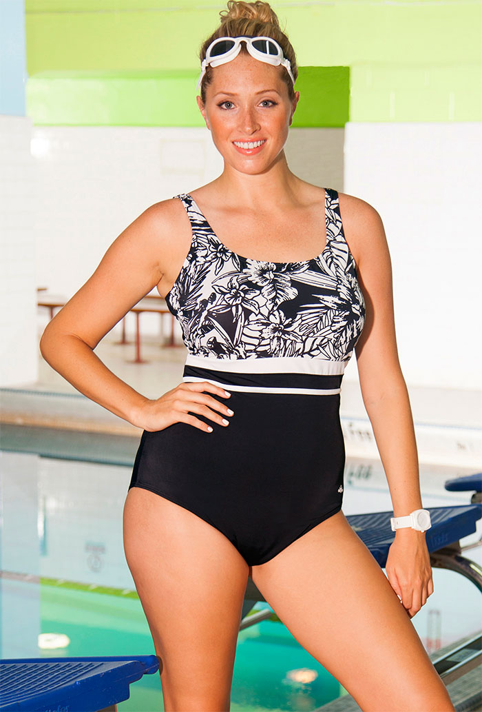 83413b74e95 Aquabelle Monochrome Plus Size Empire Swimsuit. 52.00   19.98  . Sale!
