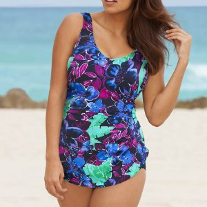 48c21ea1cf9f0 Beach Belle Banana Leaf Plus Size Sarong Front Swimsuit. 56.00   24.98  .  Sale!