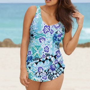 c4ac38fbf0689 Beach Belle Bondi Plus Size Sarong Front Swimsuit. 56.00   24.98