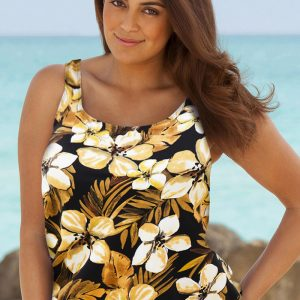 e6a105e15aa7b Beach Belle Jamaican Sunset Plus Size Blouson Tankini Top
