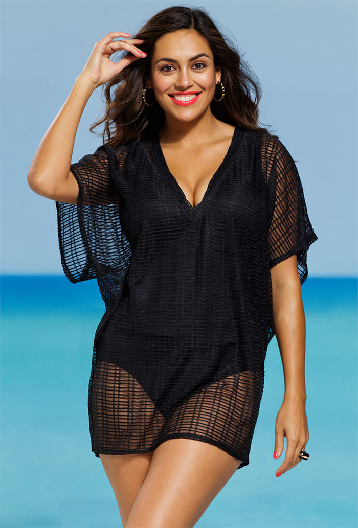 fc14c1da6f44c Black Sheer Plaid Plus Size V Neck Tunic. 48.00   17.98  . Sale!