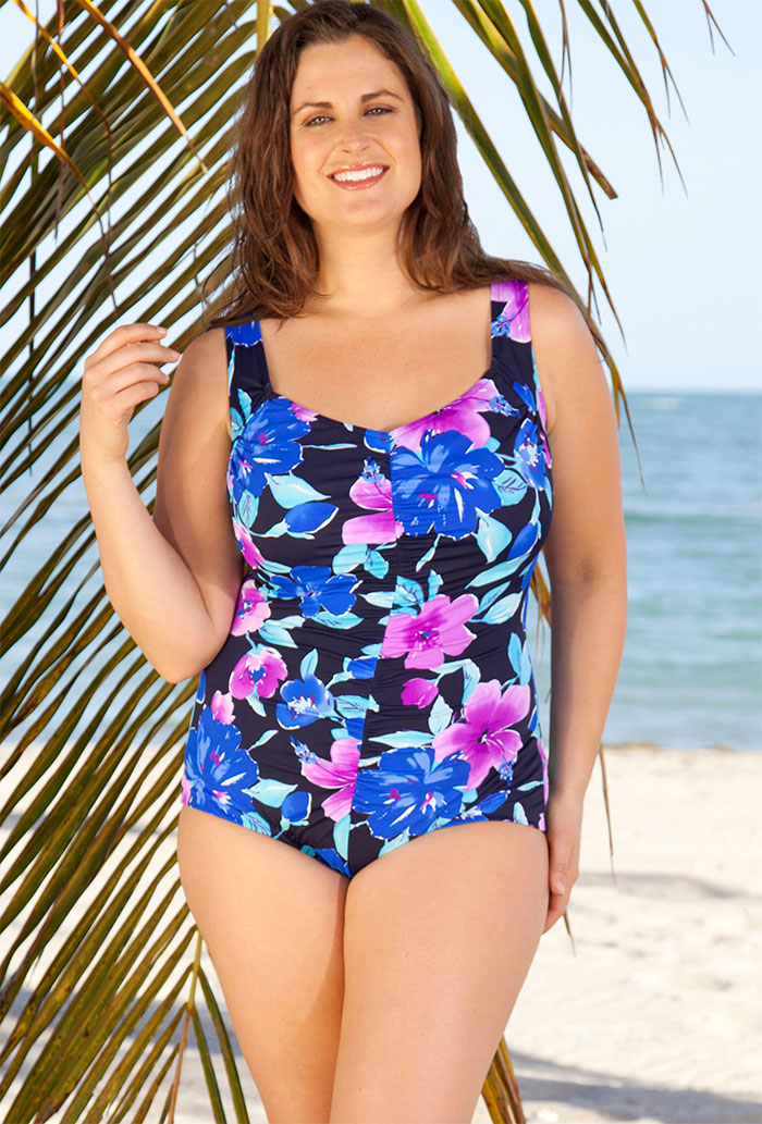 c04631f810 Maxine Sunny Plus Size Shirred Front Girl Leg Swimsuit