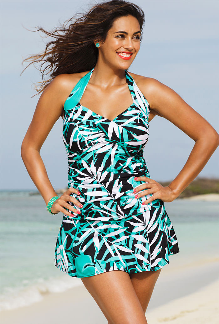 Shore Club Palm Cove Plus Size Halter Swimdress