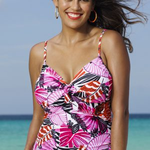 cb95ec3162d Shore Club Santa Cruz Plus Size Underwire Tie Front Tankini Top
