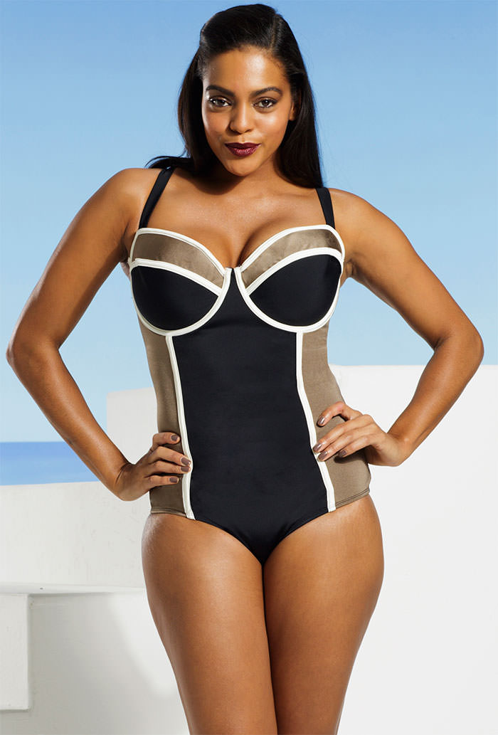 011b0d40879 Tropiculture Plus Size Black And Taupe Cross Back Underwire Swimsuit