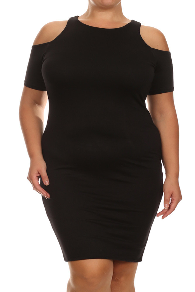 Plus Size Bare Shoulders Black Midi Dress