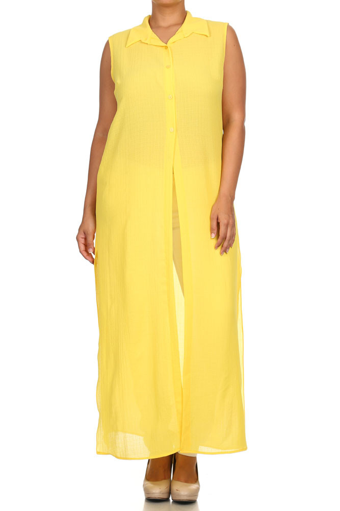 Plus Size Mod Button Up Sheer Yellow Maxi Dress