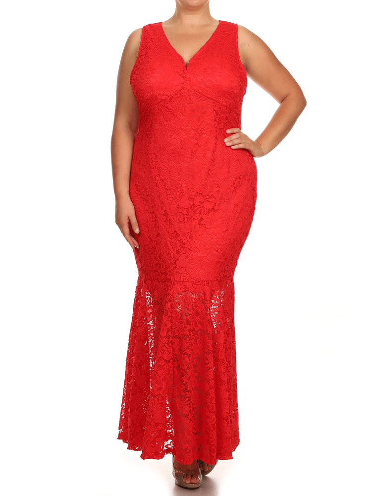 Plus Size Pretty In Floral Crochet Mermaid Maxi Red Dress